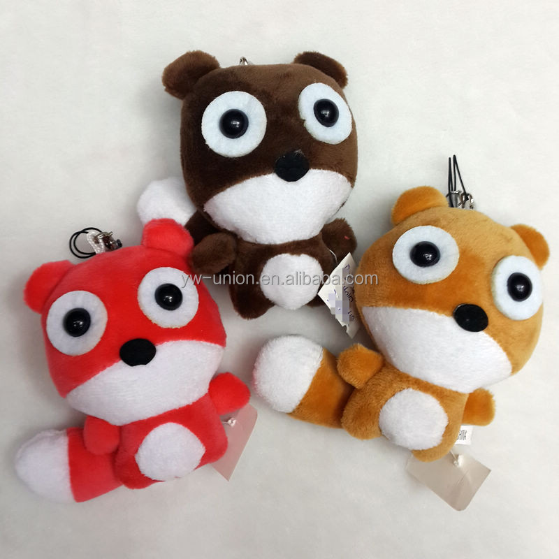 Red grey brown color mini plush dog with big plastic eyes