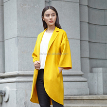 Cover-up yellow women wear clothes Ladies long trench winter coats 2015