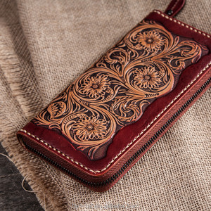 Chinese Hand-Carved Wallet Engraved Genuine Leather Purse
