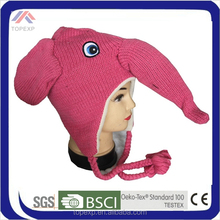 pink Elephant winter hat with strings on side
