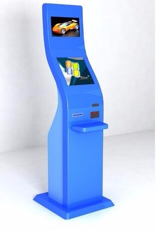 17+17 inch HD LCD dual self check machine network terminal kiosk Electronic Consumer Machine