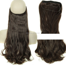 Synthetic Hair Flip in invisible Hair Extension Heat Resistant Fiber Long Curly Wave Halo Hair Extension Wholesale Top Quality