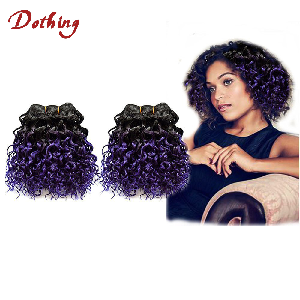 High Quality #1B To Purple Ombre hair Brazilian Virgin Remy Human Hair Deep Curl Hair Weft