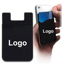 Silicone cell phone sticker card holder smart phone pouch