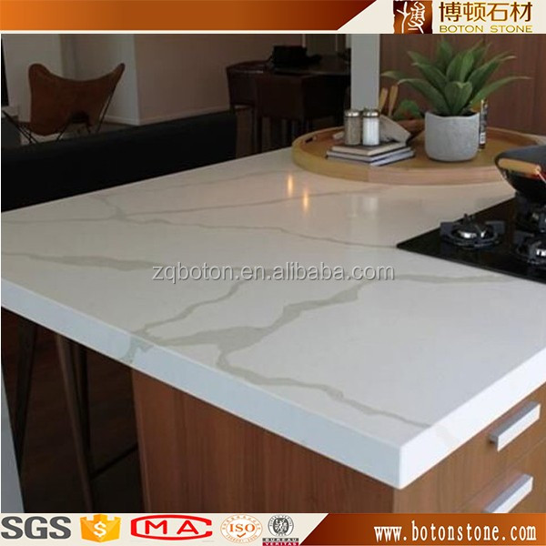 Artificial Stone white color with veins Quartz Top For Kitchen