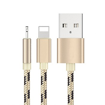 Cheap 2 in 1 nylon braided usb cable for iphone