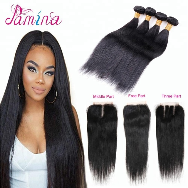 Brazilian Straight Hair with closure 8A virgin hair with closure 4 bundles with free part lace closure natural color