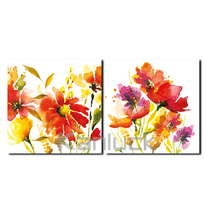 Autumn Watercolor Floral Painting on Stretched Canvas