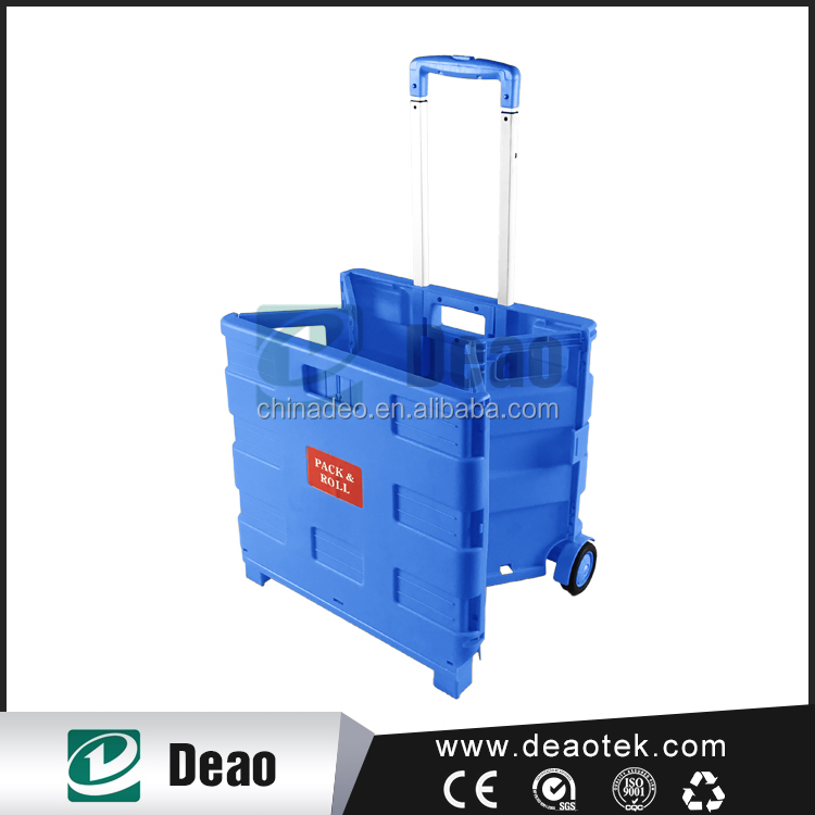 plastic portable folding shopping laundry trolley cart