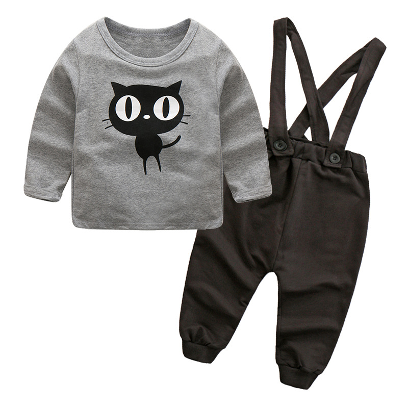 Boys Cute Cheap Black Bib Pants With Suspender For Kid Clothing Sets
