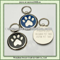 round pet paw shape metal dog tag for pet gift