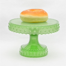 Round Green Glass Green Dessert Display Stands Decorative Dot Pattern Display Stand