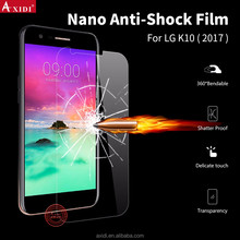 5H hardness reusable phone protector film for LG K10 nano anti shatter anti shock screen protector
