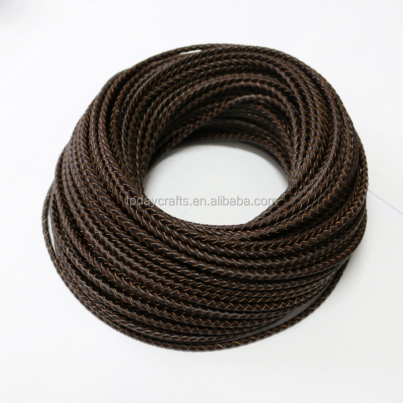 brown colour 3mm round braided leather bolo cord 3mm