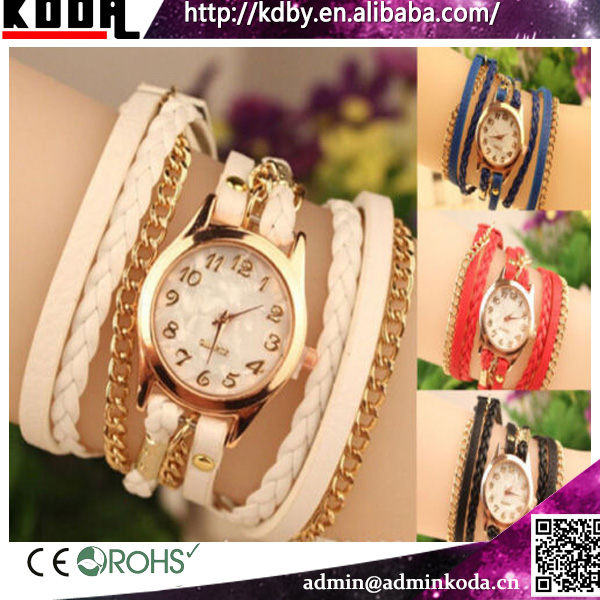 Fashion Womens Elegant Gold Chain Leather Rope Bracelet Watch
