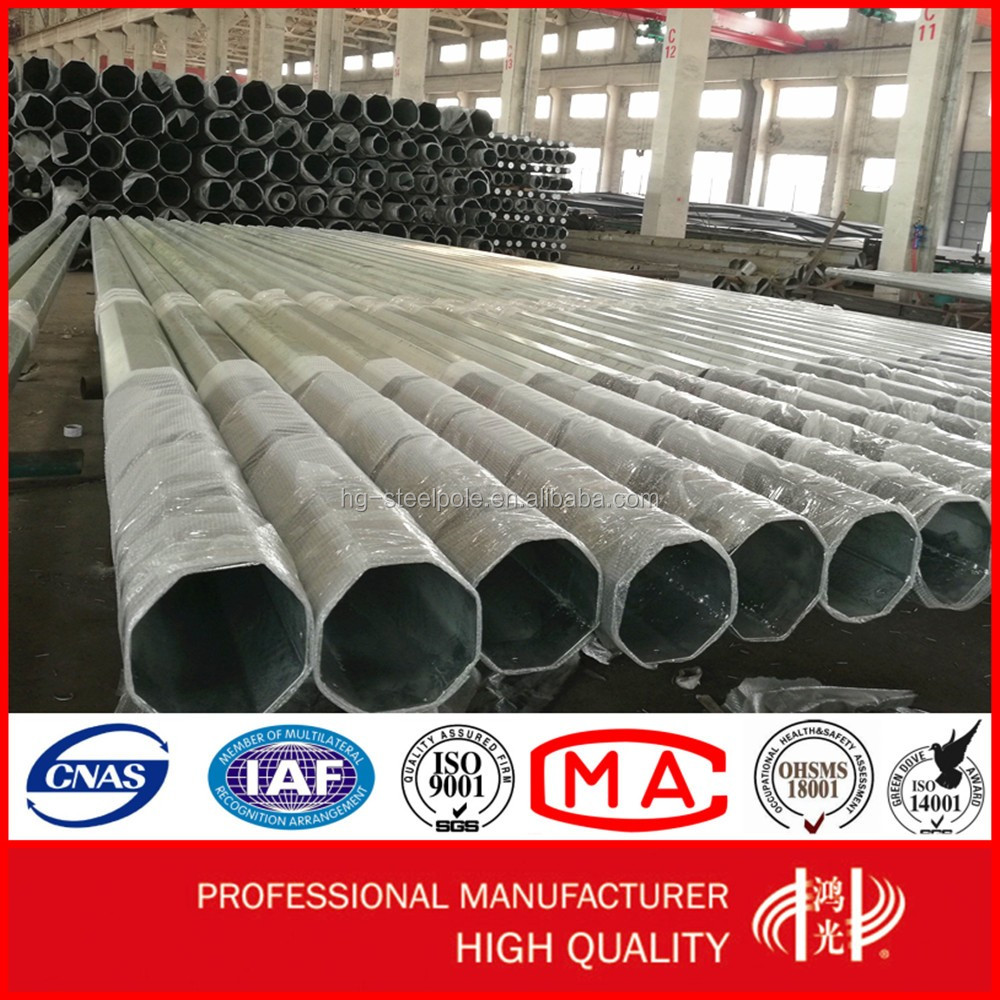 Hot Sale Q345 Polygonal Galvanized Steel Pipe Tower with Overlap Connection