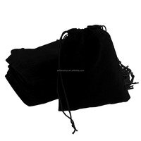 Top selling promotional custom printed black small velvet jewelry drawstring pouch
