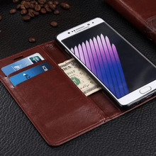 For Samsung Galaxy Note 7 Pu Wallet Flip Case Brown Black With Card Holder