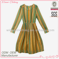 Top fashion long sleeve colorful striped linen women's clothing