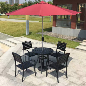 Garden metal frame chair and round table poly wood dining sets