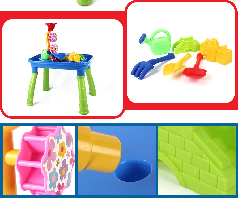 Summer kids 14pcs sand water table fun beach set toy for outdoor games