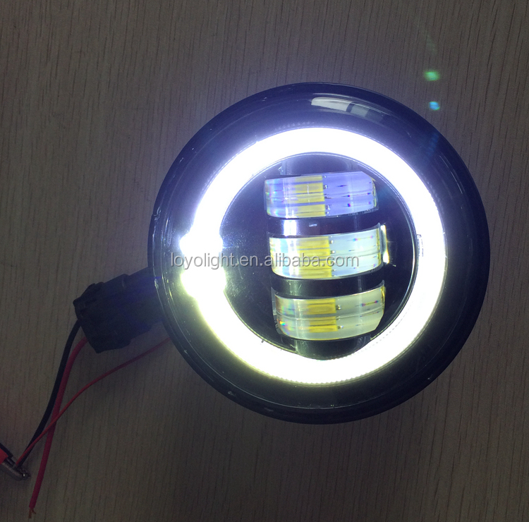 factory price 4.5 inch led Fog light special for Harley motorcycle with angel eyes
