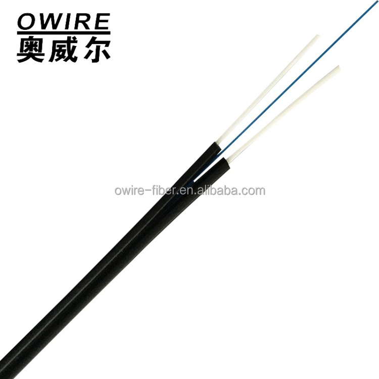 Self-supporting rubber-covered FRP or steel wire strength member LSZH material FTTH GJXHF optical fiber cabel