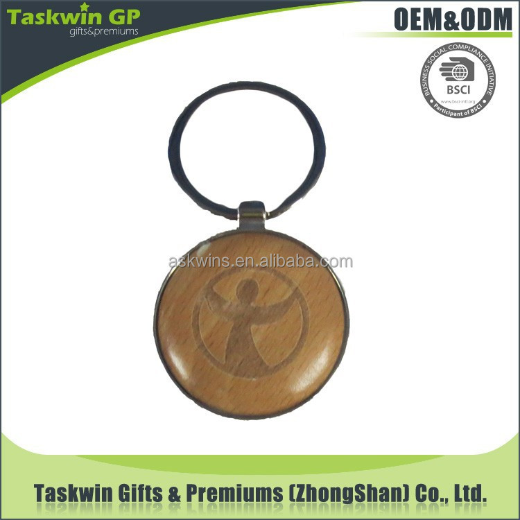 custom logo creative souvenir carved wood keychain with metal border
