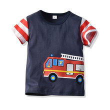Summer children's jacket children's short sleeve cartoon fire truck stripe matching color <strong>boy's</strong> round collar cotton <strong>T-shirt</strong>