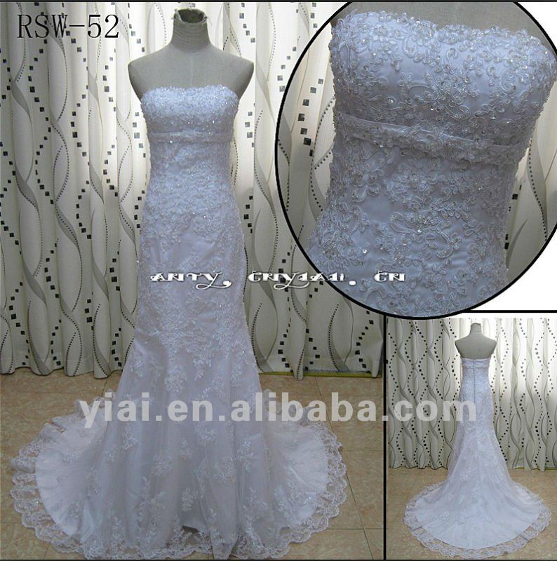 RSW-52 Latest White Lace Mermaid Wedding Dress