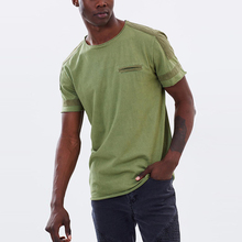 Jinyu Factory OEM 100% Organic Cotton Acid Washed Short Sleeve Men's Plain Army Green Jagger Tee T-shirts With Faux Chest Pocket