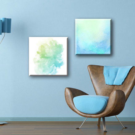 Custom Ink friendly blue color abstract watercolor painting