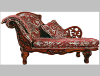 Luxury antique chaise lounge /French style chaise lounge chair /Wooden carved end of bed chaise S61#