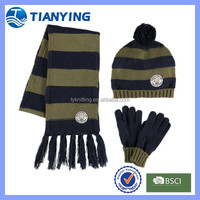 Wholesale Kids Striped Knitted Scarf Hat