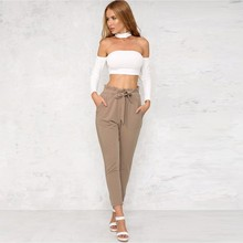 fashion causal women high waist harem bow tie drawstring sweet elastic waist spandex pockets pantalones trousers pants