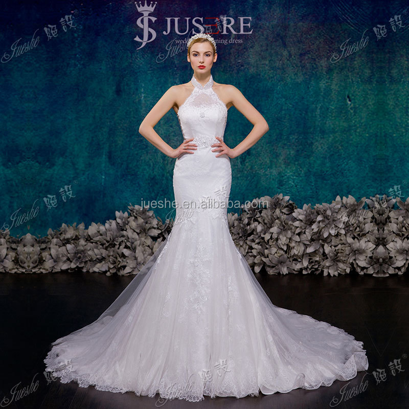 2015 new design sleeveless backless high neck halter wedding dress with trail