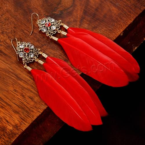 new long women red feather shaped earrings 1147588