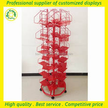removable free standing metal greeting card display rack showcase with wheels