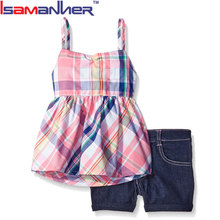 Import brand high quality summer girls trendy kids clothing clothes
