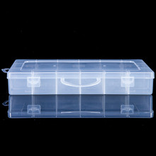 PP Box !! Large 13Grid Plastic clear hinged lid craft storage organiser box case with dividers.-JYL013