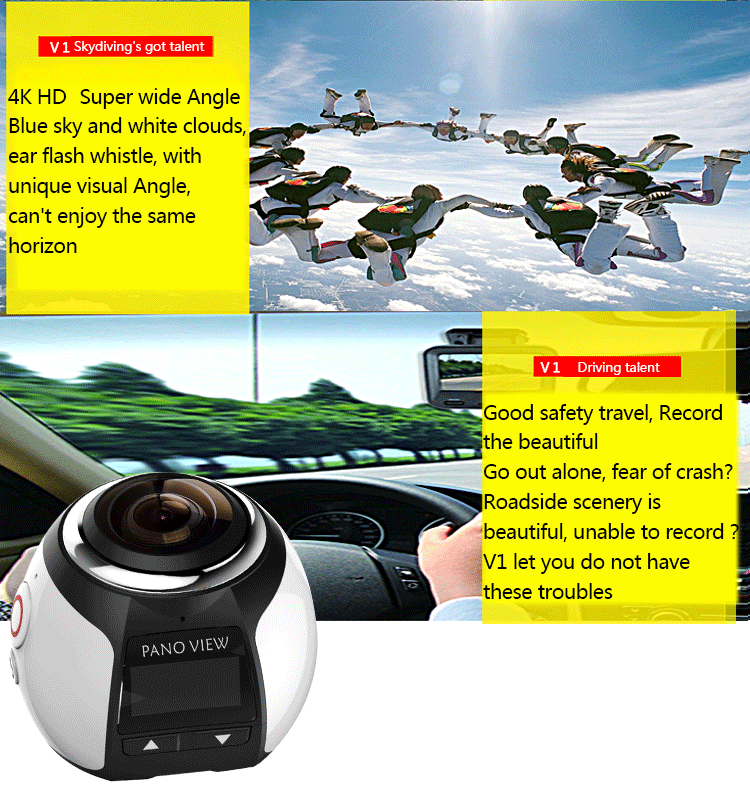 2017 High Quality 1080P Full HD WIFI Waterproof 360 Degree Panoramic action Camera