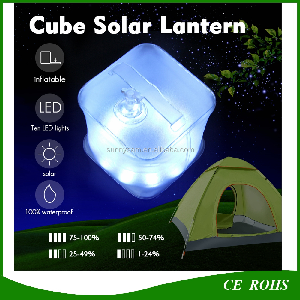 10 LED Inflatable Cube Solar Lantern with Power Indicator for Camping Hiking