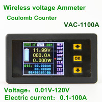 DC 120V 100A LCD Voltmeter Ammeter Power Meter Capacity Coulomb Counter VAC1100A