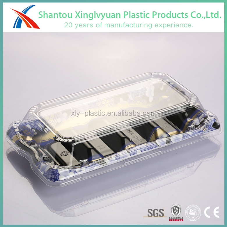 China supplier rectangular clear disposable plastic sushi tray