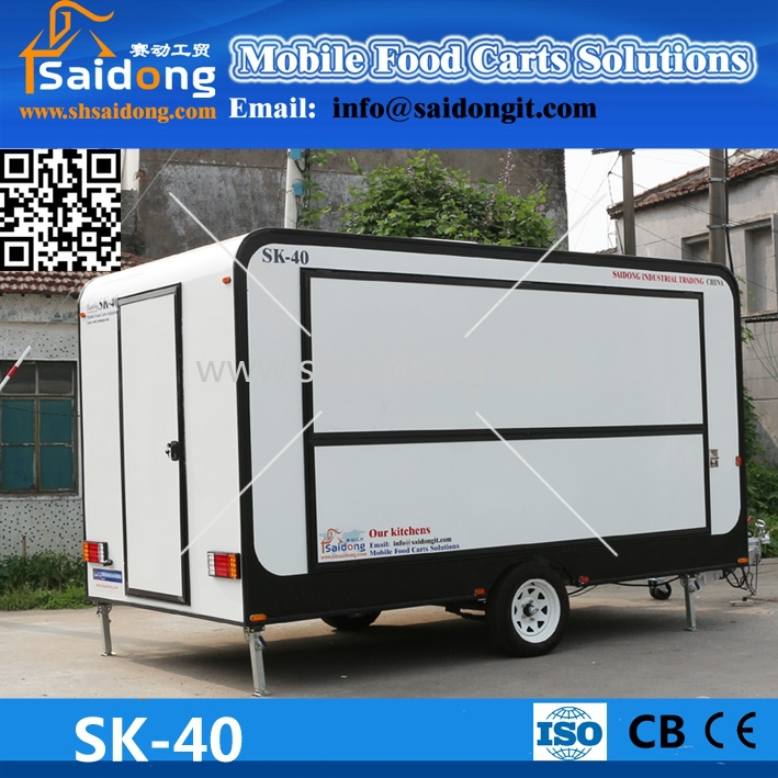 Fiberglass mobile fast food van/snack food truck/catering vending truck with sliding wall