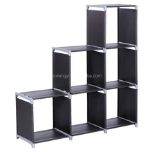 Free standing & water-proof shelf foldable storage cube closet organizer; 6 storage cube cabinet with 3 tiers