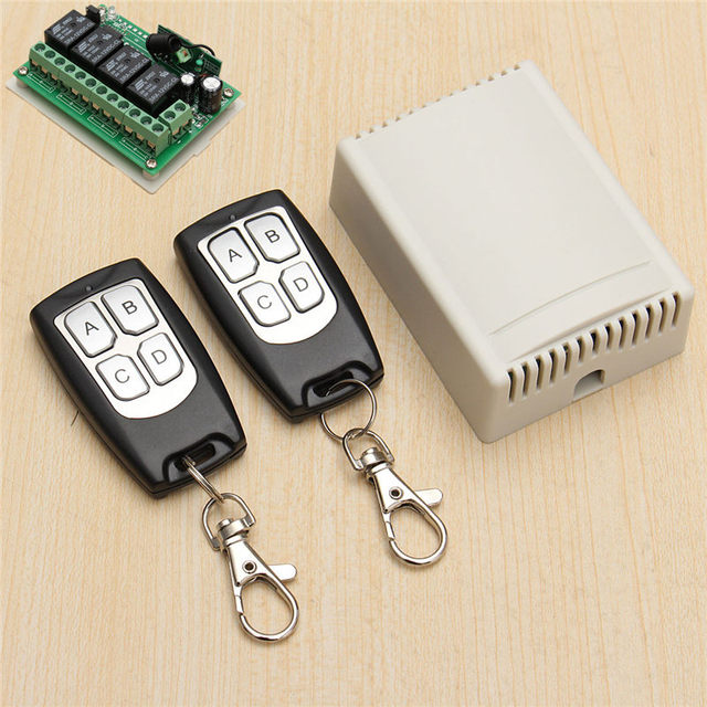 High Quality 12V 3A 4CH 200M Wireless Remote Control Relay Switch Transceiver With 2 Receiver Compatible With 2262 2260 1527