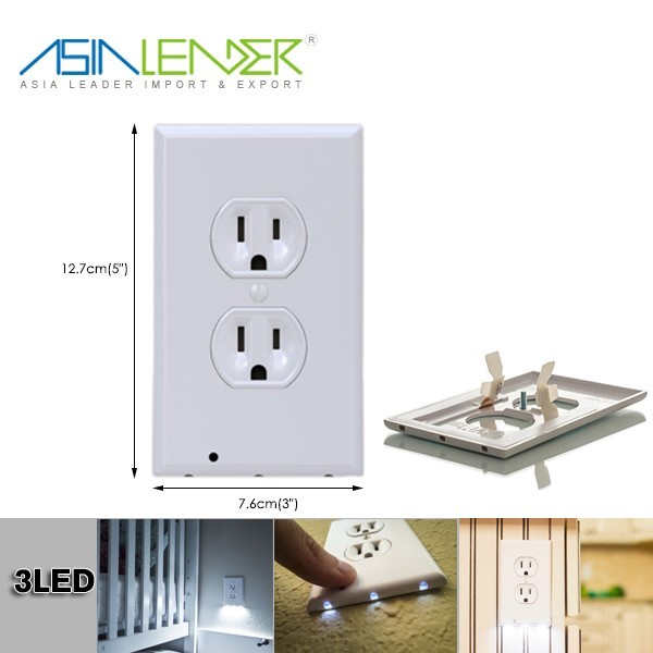 For Baby Safety Self-Closing Standard Size, With Light Sensor, LED Wall Socket Plugs Plate Alternate Electrical Outlet Covers