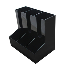 China Supplier Coffee Stores Black White Coffee Cup Display Rack 2 Layer Plastic Coffee Cup Dispenser