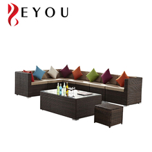 European Design L Shaped Rattan Coner Sectional Sofa and Wicker Living Room Tea Table Garden Furniture